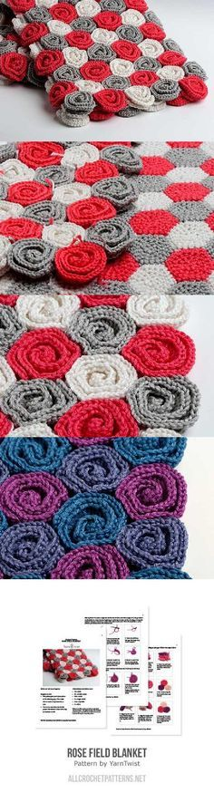 Free Crochet Pattern Rose Field : Rose Field blanket crochet pattern by YarnTwist Blanket ...