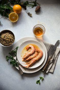 Prawns and lentils with orange Asian Seafood Recipe, Seafood Recipes, Prawn, Lentils, Food Styling, Salmon, Food Photography, Orange, Ethnic Recipes