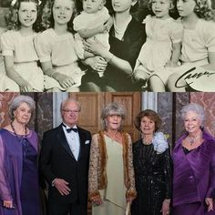 """Then and now❤ King Carl Gustaf and his sister's  Princess Birgitta celebrated her 80th birthday yesterday and the royal court published a new picture of """"Hagasessorna"""" and their little brother #swedishroyalfamily #swedishroyals #princessmargaretha #prinsessanmargaretha #princessbirgitta #princessdesiree #prinsessandesirée #princesschristina #prinsessanchristina #kingcarlgustaf #kingcarlxvigustaf #kungcarlgustaf #princesssibylla #prinsessansibylla #hagasessorna"""