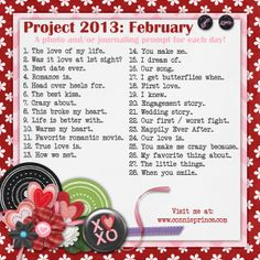 Connie Prince Digital Scrapbooking News: Project 2013 - February Photo / Journal Prompt A Day Challenge!