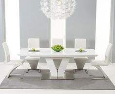buy the malaga 180cm white high gloss extending dining table with hampstead z chairs at oak - White Gloss Kitchen Table