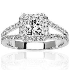 1.05 Carat Princess Cut/Shape 14K White Gold Halo Style Double Row Pave Set Designer Diamond Engagement Ring ( H-I Color , SI2 Clarity )