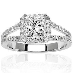1.05 Carat Princess Cut/Shape 14K White Gold Halo Style Double Row Pave Set Designer Diamond Engagement Ring ( H-I Color , SI2 Clarity )