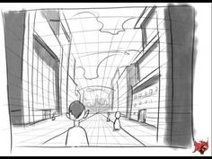 Draw a one point perspective city and a room-The Helpful Art Teacher