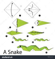 - Step By Step Instructions How To Make Origami A Snake. Stock vektorkép 339563366 : Shutterstock Diy Origami, Origami Snake, Origami Toys, Origami Dragon, How To Make Origami, Origami Butterfly, Paper Crafts Origami, Origami Step By Step, Flower Tutorial