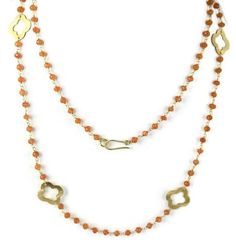 Natural Carnelian Beaded Chain Clover Charm 24k Gold Plated Necklace 18  Long