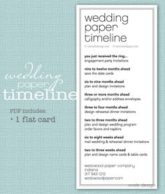 wedding paper timeline. when to print out what.