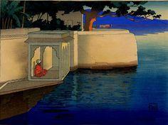 Charles Bartlett, Udaipur 1916 (Meditation), Woodblock Print, 1916, Publisher Watanabe
