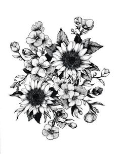 Image result for sunflower tattoo designs