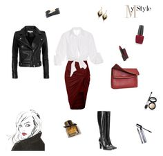 """""""Leather Jacket!"""" by rboowybe ❤ liked on Polyvore featuring LE3NO, IRO, Yves Saint Laurent, Johanna Ortiz, Eddie, LK Designs, Burt's Bees, Urban Decay, Burberry and OPI"""