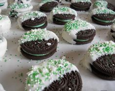 st. pattys oreos, would be cute to do for christmas or birthdays too