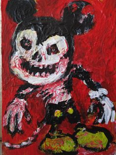 "Zombie Mickey Horror Art , Abstract, original  ,ACEO  jack larson 3.5""x2.5""  #Abstract"