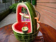 Watermelon carved in to a well