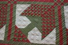 Antique 1800's Red and Green calico Pine Tree of Life Quilt Hand made Christmas | eBay