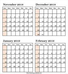 16 Best November 2018 To February 2019 Calendar Images