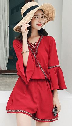 Fashiontroy Holiday collection beachwear red tasseled embroidered flared cuffs wide-leg beach playsuit spring summer