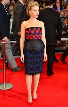 Scarlett Johansson in a Prada dress with peplum at the London premiere of the Avengers