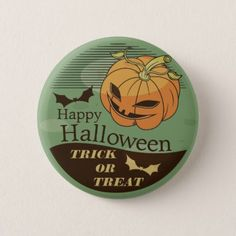 Creepy Halloween Pumpkin Vintage | Pin Button - party gifts gift ideas diy customize