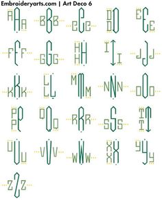 Art deco fonts for embroidery (software for machines??).  Would love to use on napkins and other items for the home...my favourite pattern by far.