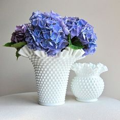 Hobnail milk glass vases- Fenton Art Glass, perhaps.