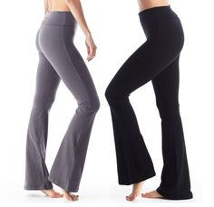 """Women's Yoga Pants Cotton Foldover Flared Stretchy. 95% Cotton 