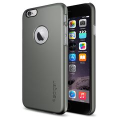 iPhone 6 Case, Spigen® [Logo Shield] iPhone 6 (4.7) Case Slim **NEW** [Fit Series] [Thin Fit A] [Gunmetal] Premium SM Coated Matte Hard with Apple Logo Cutout Case - ECO-Friendly Packaging - Slim Case for iPhone 6 (4.7) (2014) - Gunmetal (SGP10944): Buy iPhone 6 Case, Spigen® [Logo Shield] iPhone 6 (4.7) Case Slim **NEW** [Fit Series] [Thin Fit A] [Gunmetal] Premium SM Coated Matte Hard with Apple Logo Cutout Case - ECO-Friendly Packaging - Slim Case for iPhone 6 (4.7) (2014) - Gunmetal…