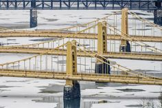 The Sister Bridges in Pittsburgh over an ice and snow covered Allegheny River - Metal Print Pittsburgh Bridges, Pittsburgh City, Pittsburgh Steelers, Bloomfield Homes, Real Id, Good Morning America, Brooklyn Bridge, Golden Gate Bridge, The Incredibles