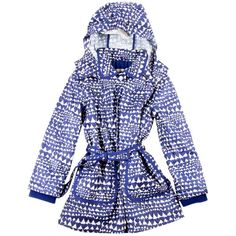 Stella Mccartney Polly Raincoat ($100) ❤ liked on Polyvore featuring heart blue print