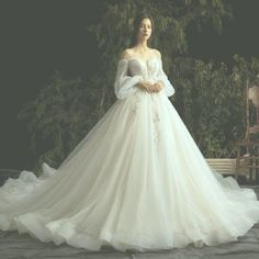 Luxury / Gorgeous Ivory Wedding Dresses 2019 Ball Gown Lace Flower Beading Crystal Sequins Strapless Long Sleeve Backless Royal Train – Summer Wedding – Wedding Ideas For Summer Dream Wedding Dresses, Bridal Dresses, Wedding Gowns, Fairytale Dress, Ivory Wedding, Boho Wedding, Wedding Ideas, Fantasy Dress, Look Fashion