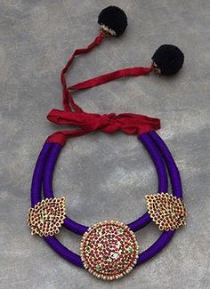 Violet N Maroon Polki N Pearls Studded Necklace