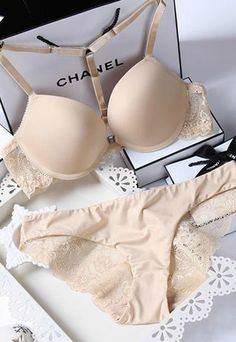 Sexy Solid Color Lace Floral Embroidered Push-up T-Strap Underwire Bra Panty Set