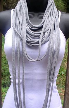 Tee Shirt infinity scarf: different length strands-I have to remember this the next time I make one!