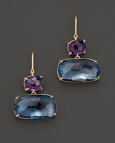 Marco Bicego Murano 18K Yellow Gold Earrings with Amethyst and Blue Topaz