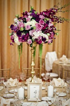 Some tables will have a tall gold vase topped with bay laurel and seeded eucalyp. Some tables will Purple Wedding Flowers, Gold Wedding, Wedding Table, Floral Wedding, Purple Roses, Trendy Wedding, Wedding Cakes, Tall Wedding Centerpieces, Floral Centerpieces