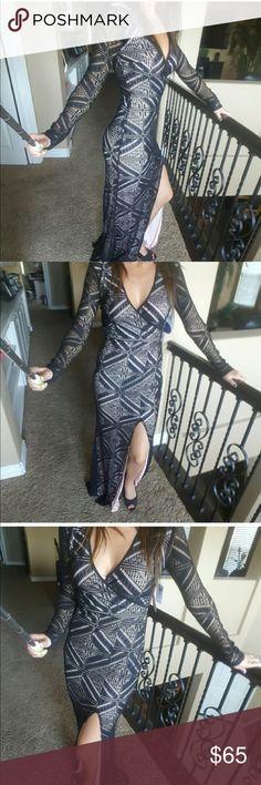 Black & Nude Lace Maxi Formal Dress Nwt Long Black & nude lace dress. Comfortable yet elegant Windsor Dresses