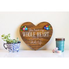 Painted wood heart rustic wood art wood heart by ArtBySharell