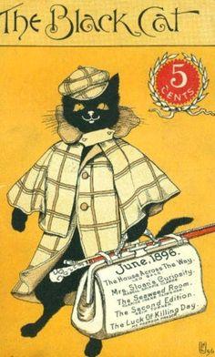 illustrations of cats: Black Cat Magazine Crazy Cat Lady, Crazy Cats, I Love Cats, Cool Cats, Black Cat Art, Black Cats, Cat Magazine, Magazine Covers, Cat Posters
