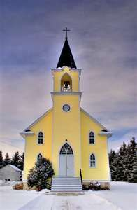 St. Johns Lutheran Church, Rabbit Hill, Alberta, Canada It's a YELLOW church in a town called RABBIT HILL. What's not to love?!??!!