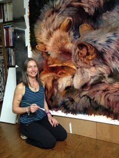 Por amor al arte: Julie Bell Julie Bell, Edmund Dulac, Boris Vallejo, Wildlife Paintings, Wildlife Art, Face Paintings, Lobo Tribal, Grim Reaper Tattoo, Bell Art