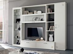 Italian Wall Unit Amalfi by SPAR - $3,999.00 Living Room Tv, Living Room Tv Unit Designs, Modern Tv Wall Units, Home Room Design, Living Room Decor Inspiration, Living Room Designs, Tv Room Design, Wall Unit, Room Design