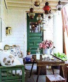 love porches! beautiful lamps
