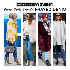 """""""Street Style Trend: Frayed Denim"""" by polyvore-editorial ❤ liked on Polyvore featuring moda, women's clothing, women, female, woman, misses, juniors, NYFW e pvnyfw"""
