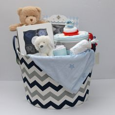 Baby Boy Gift Basket, Baby Shower Gift, Newborn Gift, Chevron Storage Basket, Baby picture frame by RsBabyBaskets on Etsy
