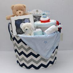 Baby Boy Gift Basket, Baby Shower Gift, Newborn Gift, Chevron Storage Basket, Baby picture frame by RsBabyBaskets on Etsy