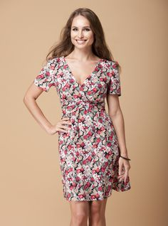 Not only does the Floral Rosie dress have a nopped in waist, but a fabulous V necklace and short sleeves to flatter a large bust| Dresses for big breasted women | DDAtelier: http://dd-atelier.com/Floral-Rosie-dress-for-big-breasted-women.html