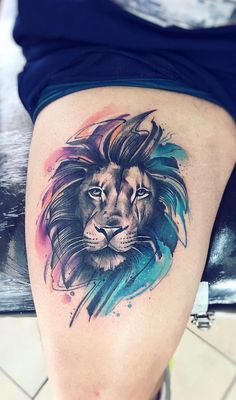 Stunning Watercolor Tattoos by Adrian Bascur - Watercolor Lion Tattoo © TÃ . - Stunning watercolor tattoos by Adrian Bascur – watercolor lion tattoo © tattooist Adrian Bascur - Lion Tattoo On Thigh, Lion Head Tattoos, Leo Tattoos, Body Art Tattoos, Sleeve Tattoos, Tattos, Lion Tattoo Design, Tattoo Designs, Geometric Lion Tattoo