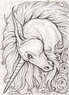 ACEO - Unicorn by ~synnabar on deviantART- replace with Lion head Más Horse Drawings, Animal Drawings, Art Drawings, Unicorn Drawing, Unicorn Art, Unicorn Sketch, Lion Head Drawing, Unicorn Painting, Magical Creatures