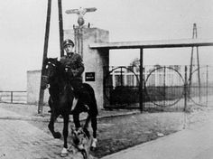 """Camp commander Wilhaus in front of the camp's gate."" Janowska."