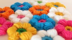 2. how to crochet 6 petal puff stitch flowers