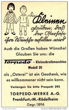 Original-Werbung/Anzeige 1954 - TORPEDO KLEIN - SCHREIBMASCHINE - ca. 65 x 110 mm